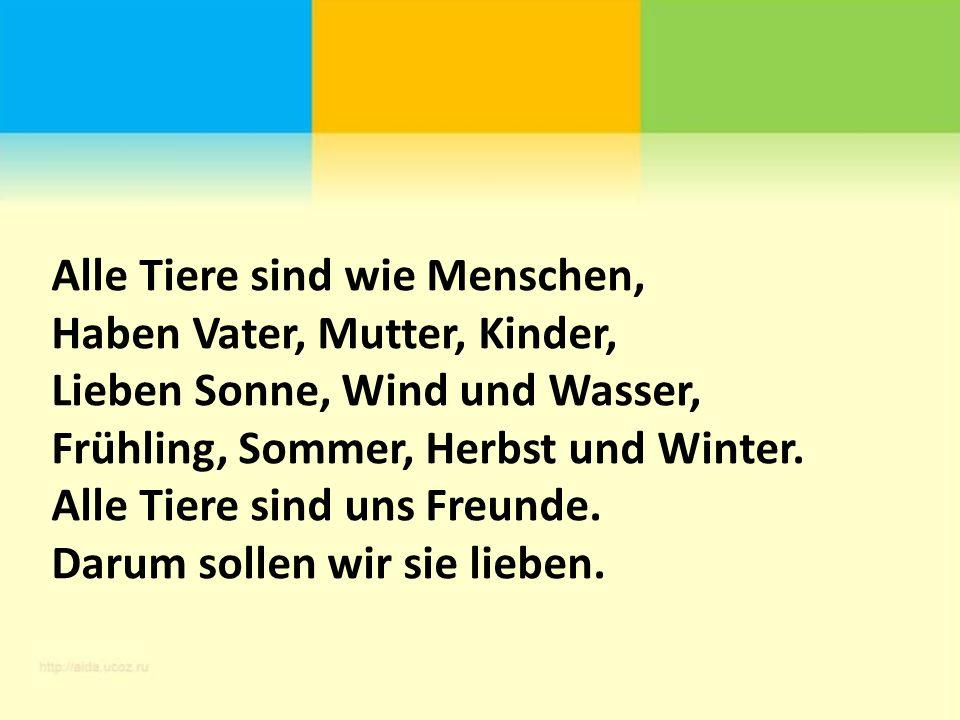 Alle Tiere sind wie Menschen, Haben Vater, Mutter, Kinder, Lieben Sonne, Wind und Wasser, Frühling, Sommer, Herbst und Winter.