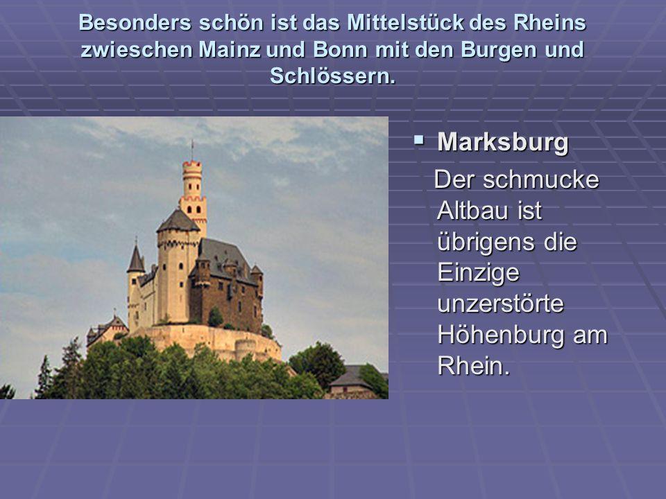 Besonders schön ist das Mittelstück des Rheins zwieschen Mainz und Bonn mit den Burgen und Schlössern.