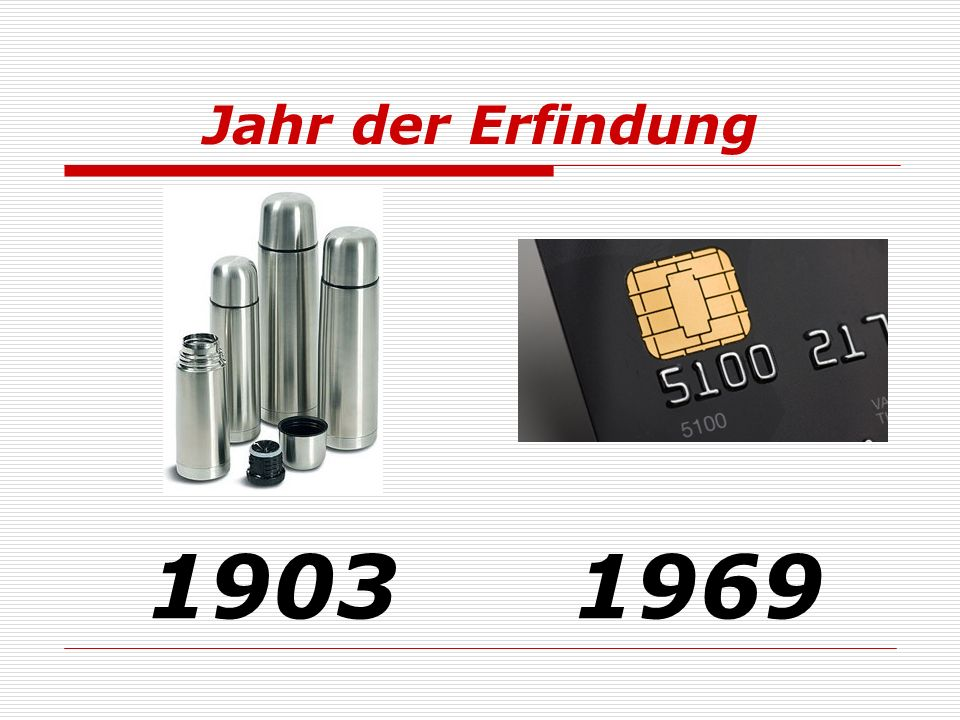 Jahr der Erfindung 1903 1969