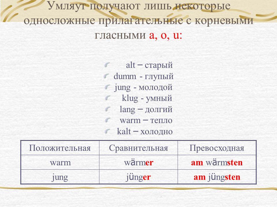 Умляут получают лишь некоторые односложные прилагательные с корневыми гласными a, o, u: