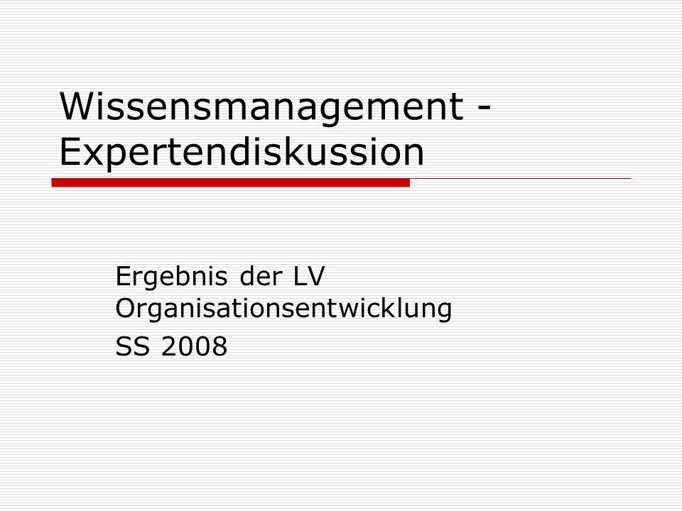 Wissensmanagement - Expertendiskussion