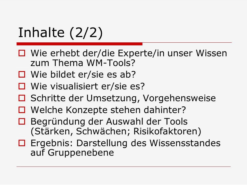 Inhalte (2/2) Wie erhebt der/die Experte/in unser Wissen zum Thema WM-Tools Wie bildet er/sie es ab
