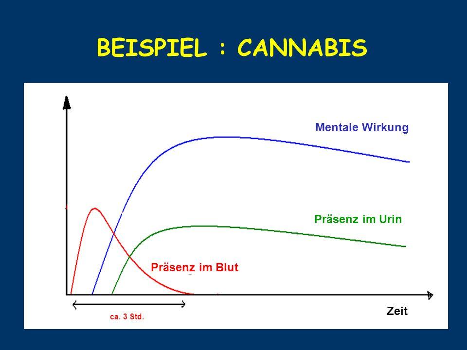 BEISPIEL : CANNABIS Mentale Wirkung Präsenz im Urin Präsenz im Blut