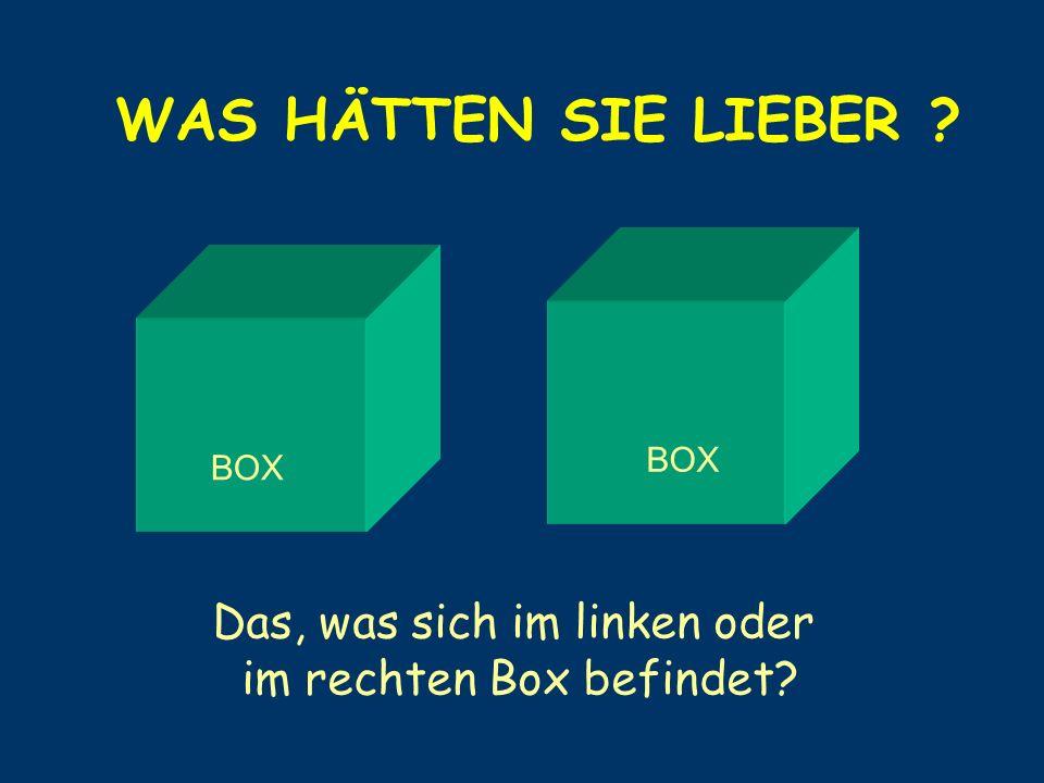 Das, was sich im linken oder im rechten Box befindet
