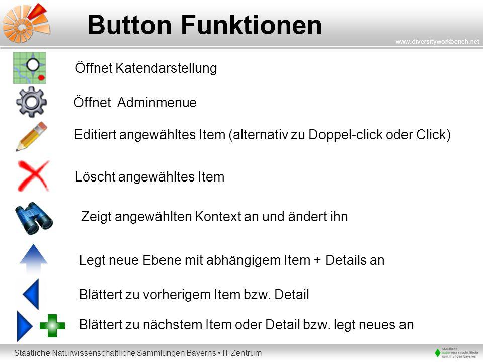 Button Funktionen Öffnet Katendarstellung Öffnet Adminmenue