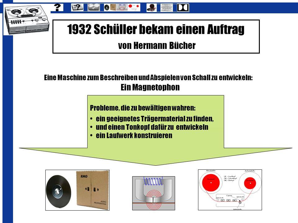 1932 Schüller bekam einen Auftrag von Hermann Bücher
