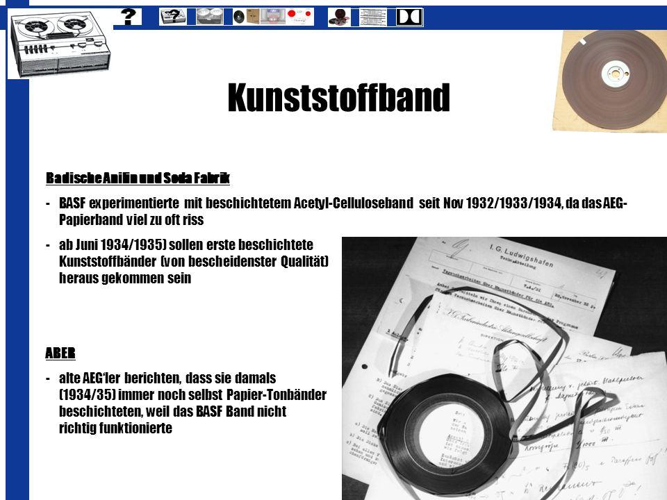 Kunststoffband Badische Anilin und Soda Fabrik
