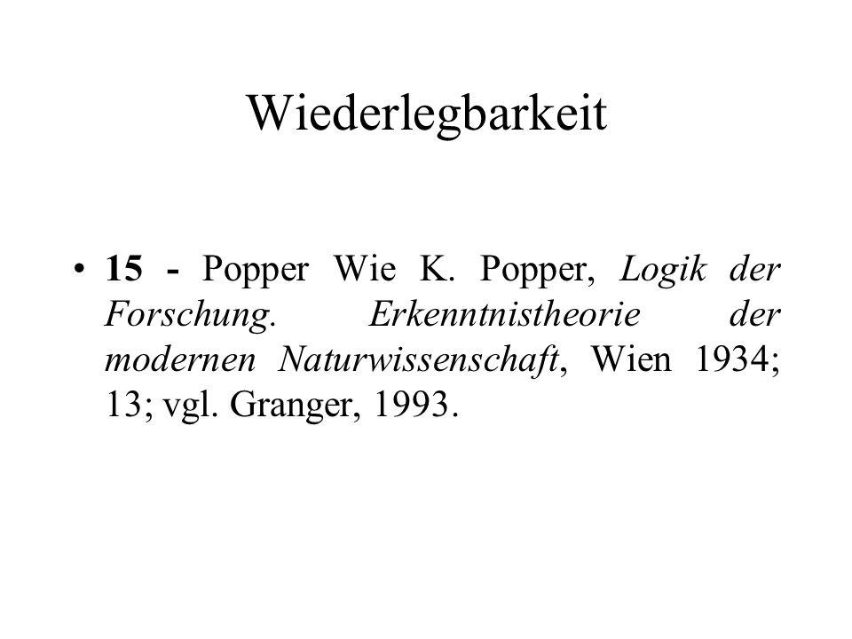Wiederlegbarkeit 15 - Popper Wie K. Popper, Logik der Forschung.