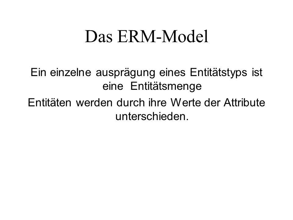 Das ERM-Model Ein einzelne ausprägung eines Entitätstyps ist eine Entitätsmenge.