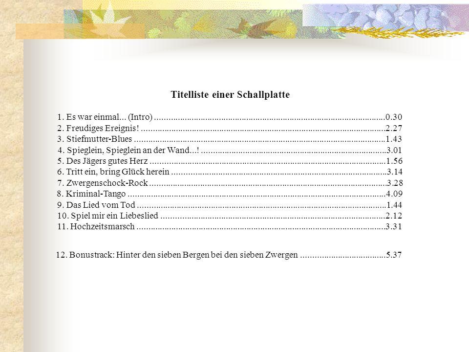 Titelliste einer Schallplatte