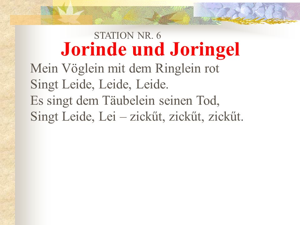 Jorinde und Joringel Mein Vöglein mit dem Ringlein rot