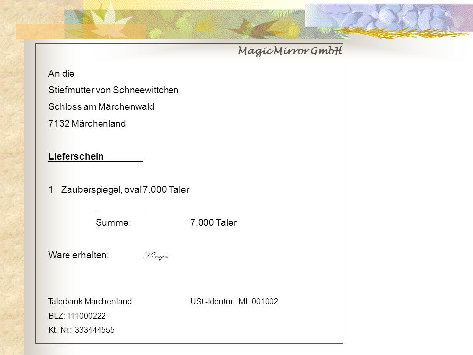 Stiefmutter von Schneewittchen Schloss am Märchenwald 7132 Märchenland