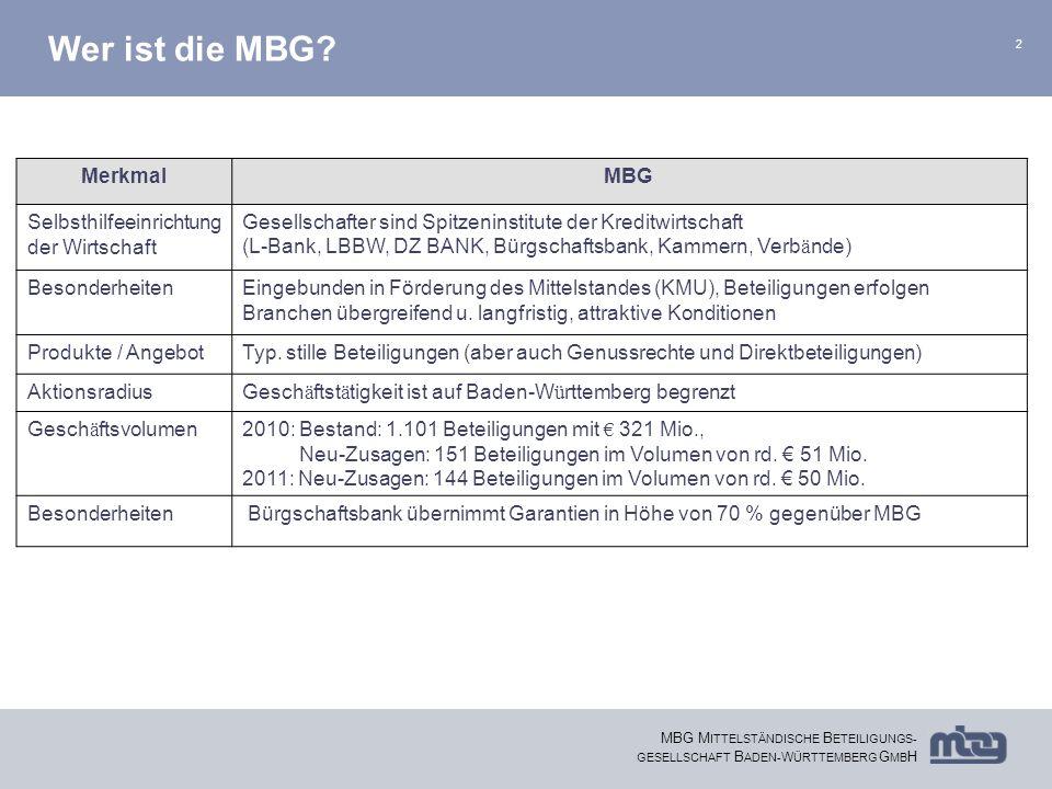 Wer ist die MBG Merkmal MBG Selbsthilfeeinrichtung der Wirtschaft