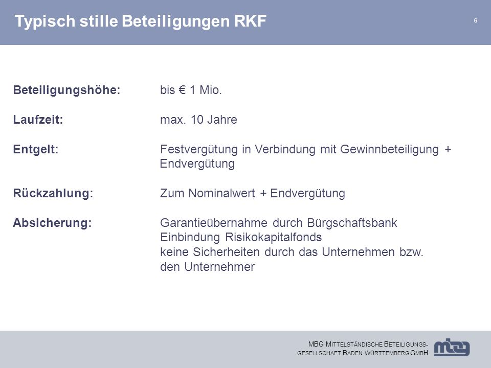 Typisch stille Beteiligungen RKF