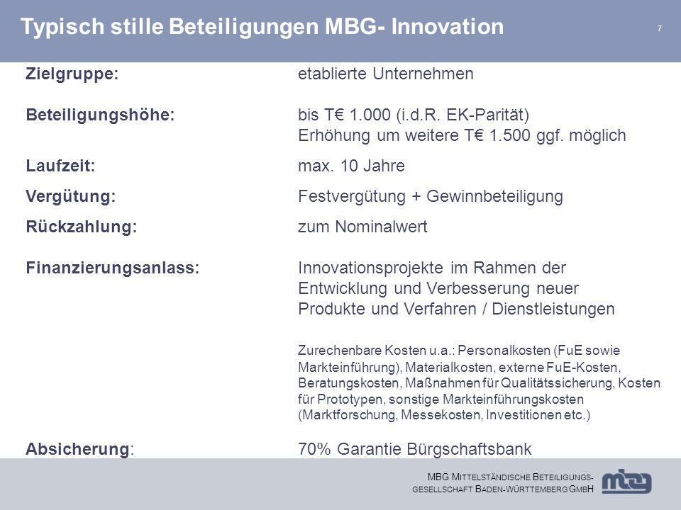 Typisch stille Beteiligungen MBG- Innovation