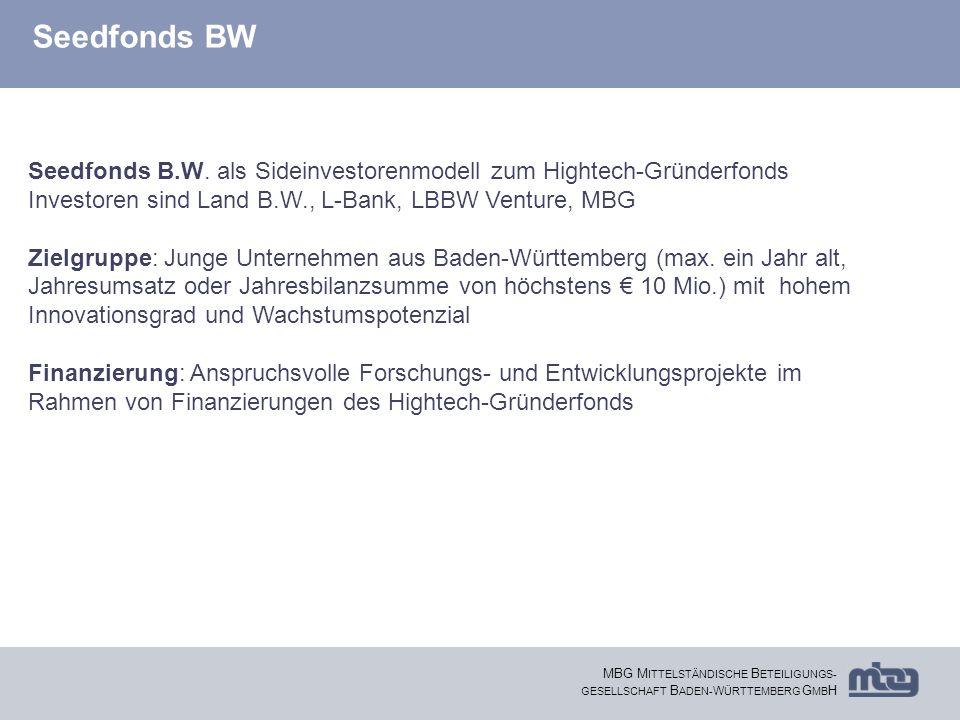 Seedfonds BW Seedfonds B.W. als Sideinvestorenmodell zum Hightech-Gründerfonds. Investoren sind Land B.W., L-Bank, LBBW Venture, MBG.