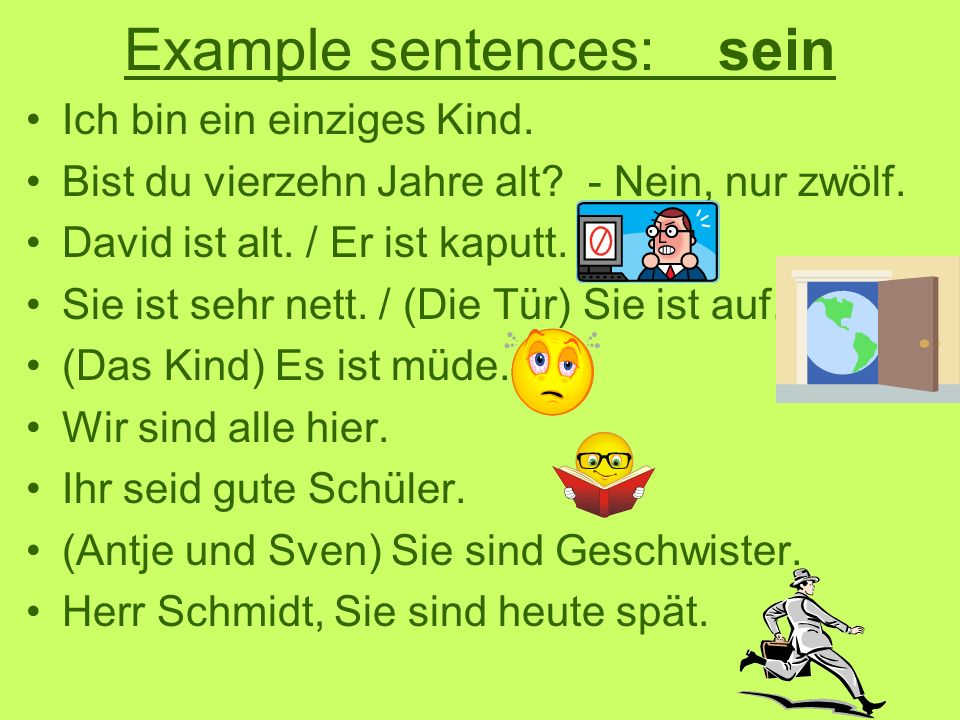 Example sentences: sein
