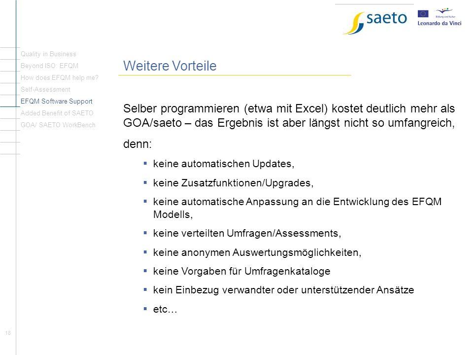 Quality in Business Weitere Vorteile. Beyond ISO: EFQM. How does EFQM help me Self-Assessment. EFQM Software Support.