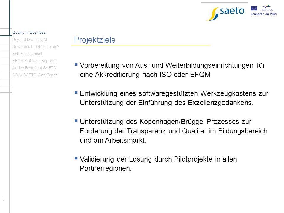 Quality in Business Beyond ISO: EFQM. Projektziele. How does EFQM help me Self-Assessment. EFQM Software Support.