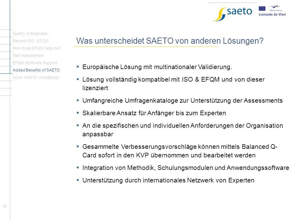 Rückblick Seite1 Was unterscheidet SAETO von anderen Lösungen