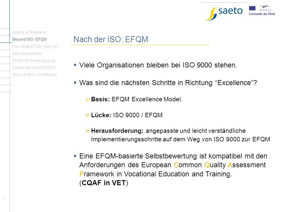 Nach der ISO: EFQM Viele Organisationen bleiben bei ISO 9000 stehen.