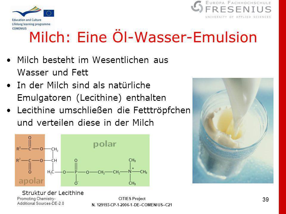 Milch: Eine Öl-Wasser-Emulsion