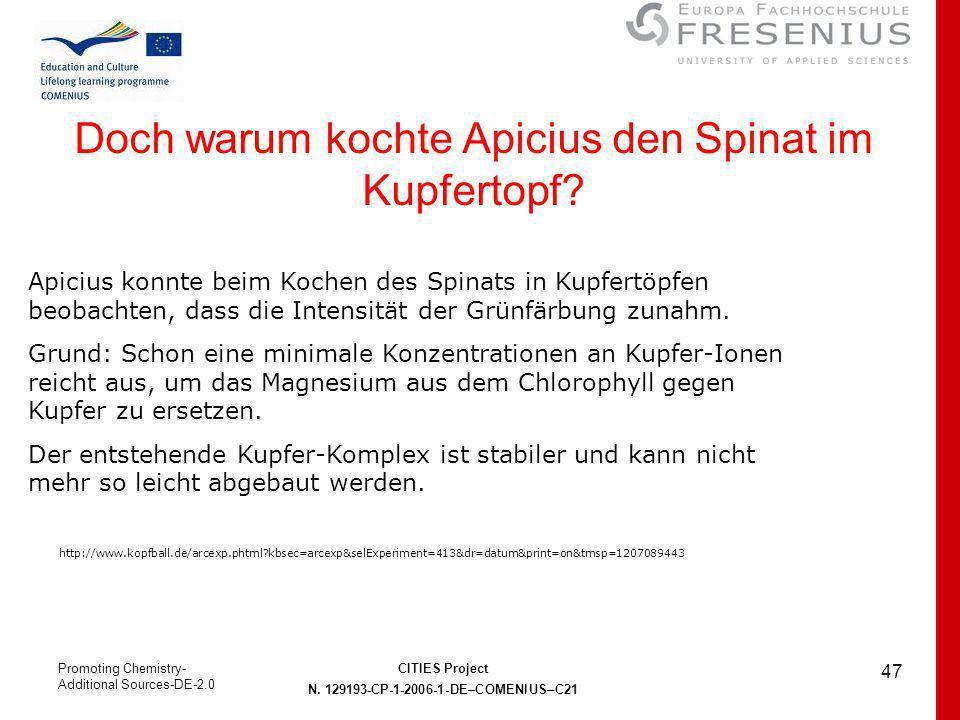Doch warum kochte Apicius den Spinat im Kupfertopf