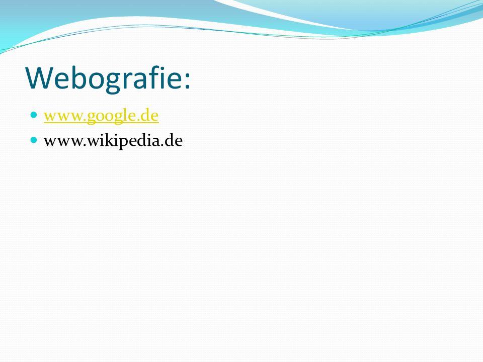 Webografie: www.google.de www.wikipedia.de