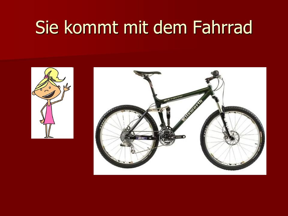 Sie kommt mit dem Fahrrad