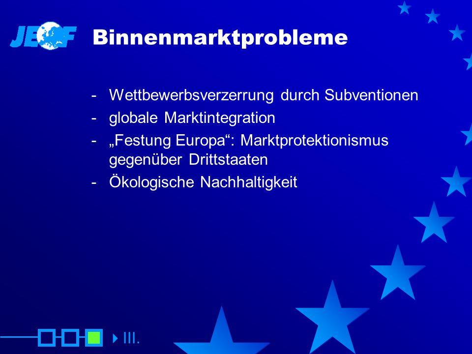 Binnenmarktprobleme Wettbewerbsverzerrung durch Subventionen