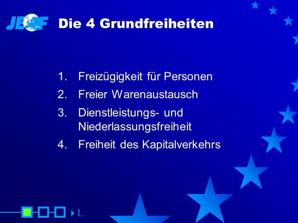Die 4 Grundfreiheiten 1. Freizügigkeit für Personen