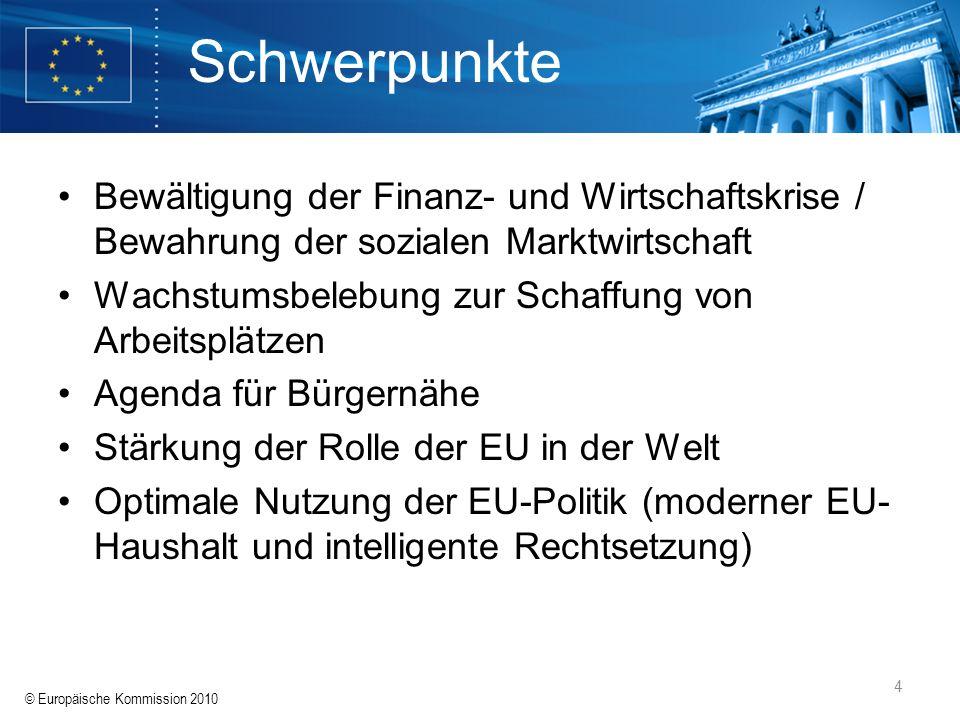 Schwerpunkte Bewältigung der Finanz- und Wirtschaftskrise / Bewahrung der sozialen Marktwirtschaft.