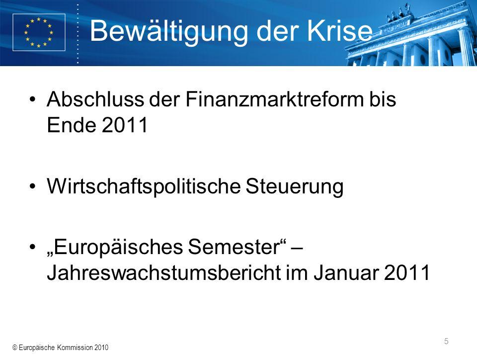 Bewältigung der Krise Abschluss der Finanzmarktreform bis Ende 2011