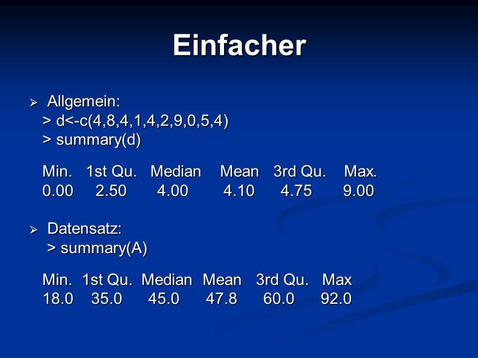 Einfacher Allgemein: > d<-c(4,8,4,1,4,2,9,0,5,4) > summary(d)
