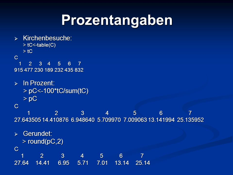 Prozentangaben Kirchenbesuche: In Prozent: > pC<-100*tC/sum(tC)
