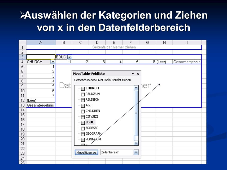 Auswählen der Kategorien und Ziehen von x in den Datenfelderbereich