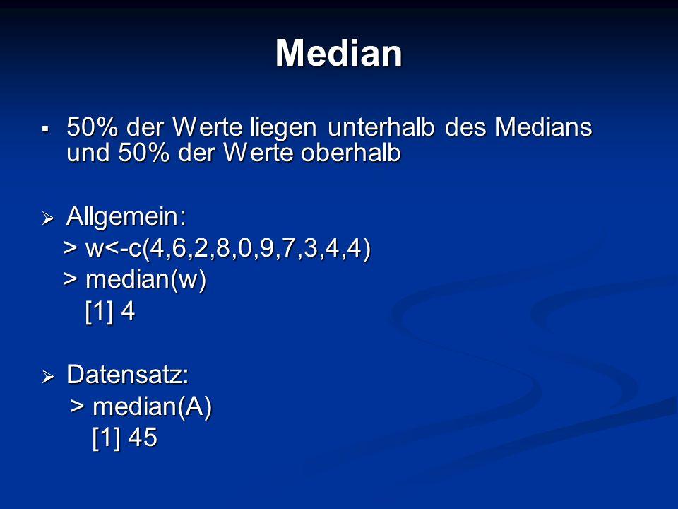 Median 50% der Werte liegen unterhalb des Medians und 50% der Werte oberhalb. Allgemein: > w<-c(4,6,2,8,0,9,7,3,4,4)