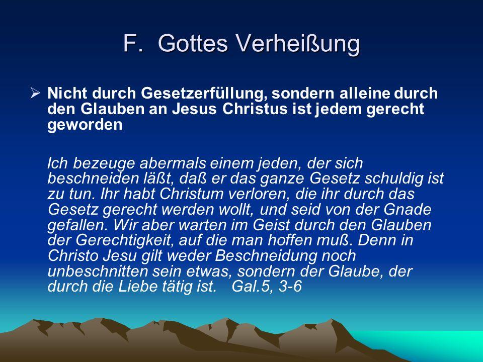 F. Gottes VerheißungNicht durch Gesetzerfüllung, sondern alleine durch den Glauben an Jesus Christus ist jedem gerecht geworden.