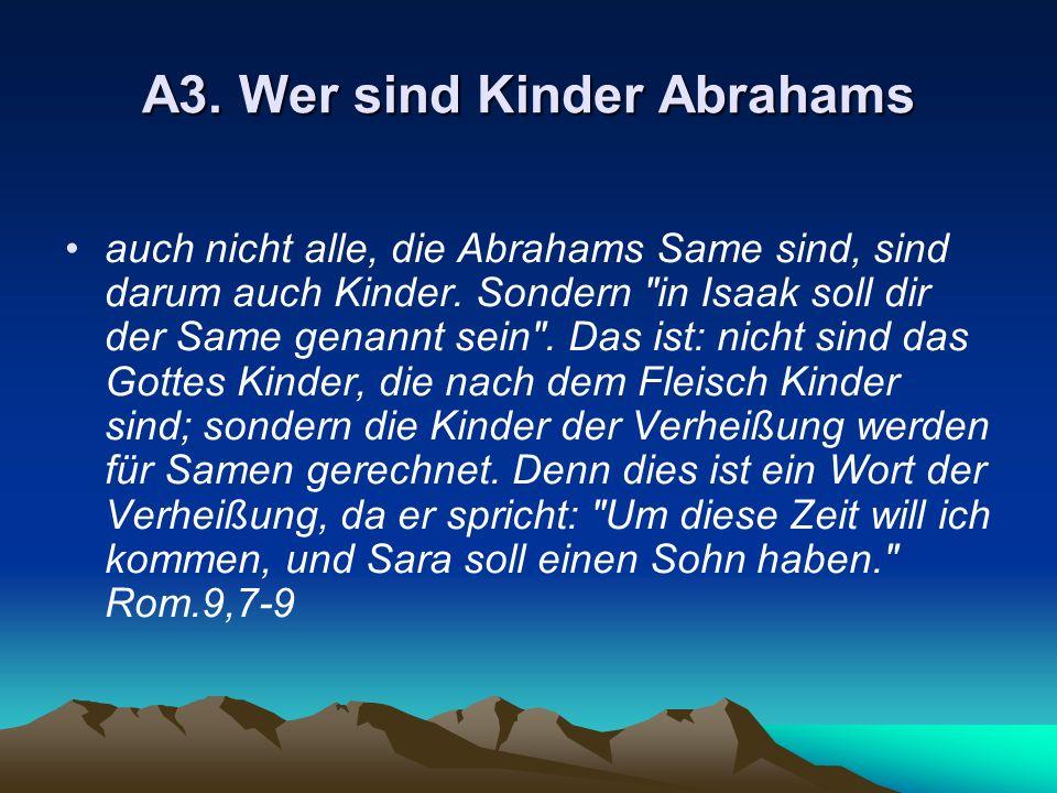 A3. Wer sind Kinder Abrahams