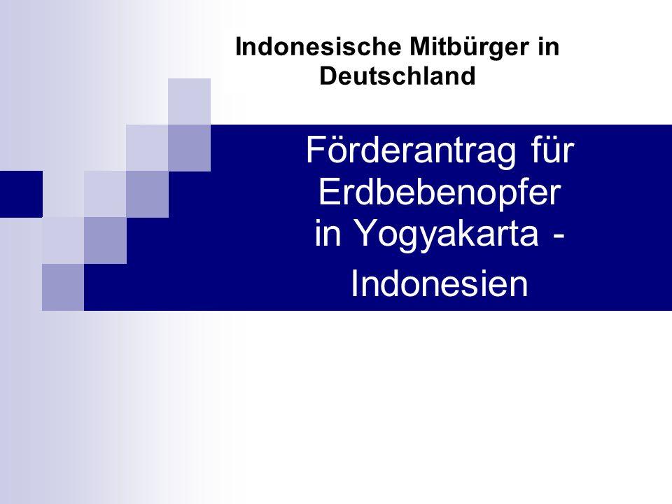 Förderantrag für Erdbebenopfer in Yogyakarta - Indonesien