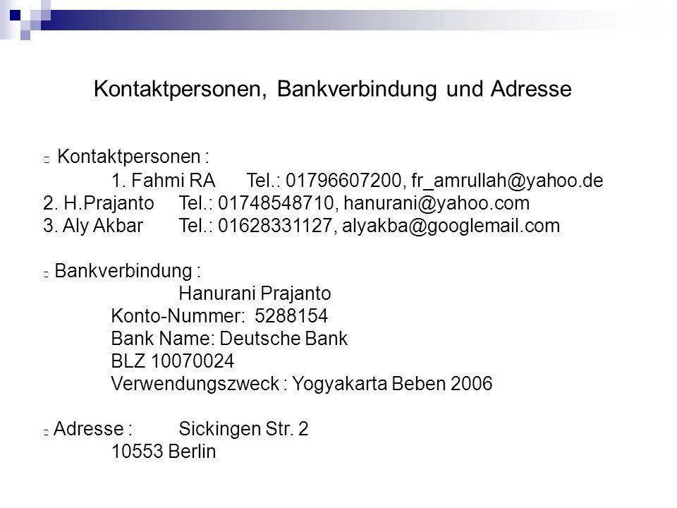 Kontaktpersonen, Bankverbindung und Adresse