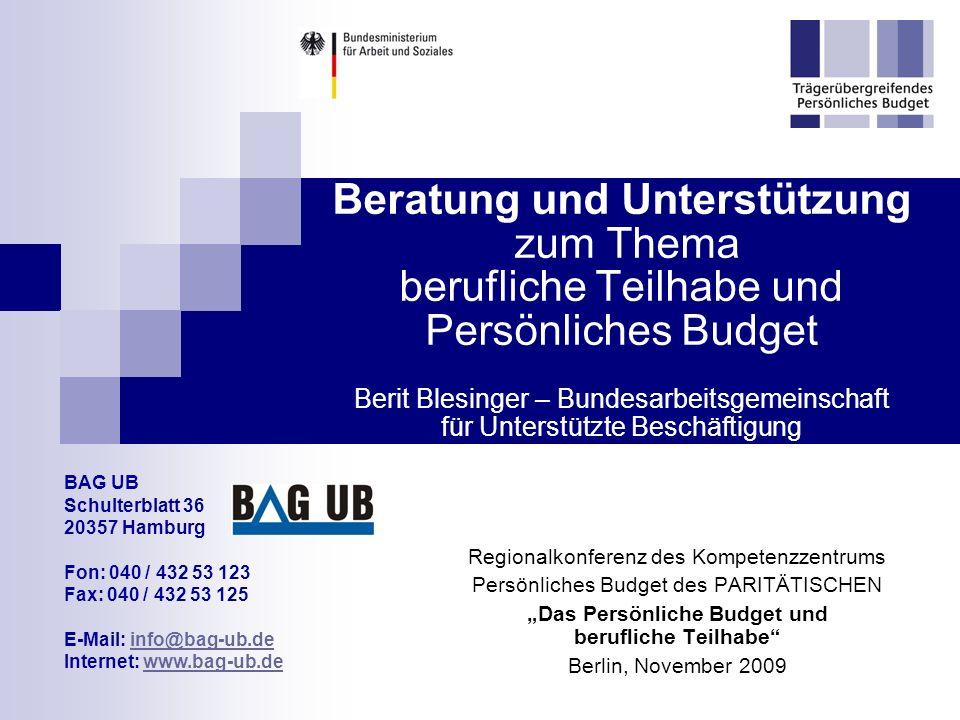 """""""Das Persönliche Budget und berufliche Teilhabe"""
