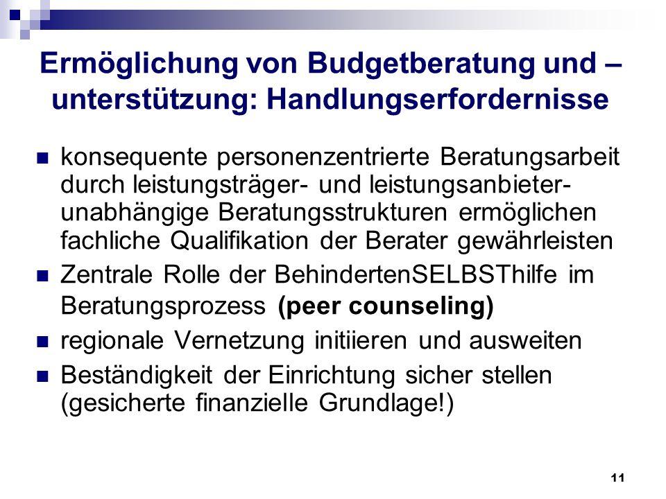 Ermöglichung von Budgetberatung und –unterstützung: Handlungserfordernisse