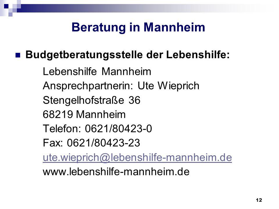 Beratung in Mannheim Budgetberatungsstelle der Lebenshilfe: