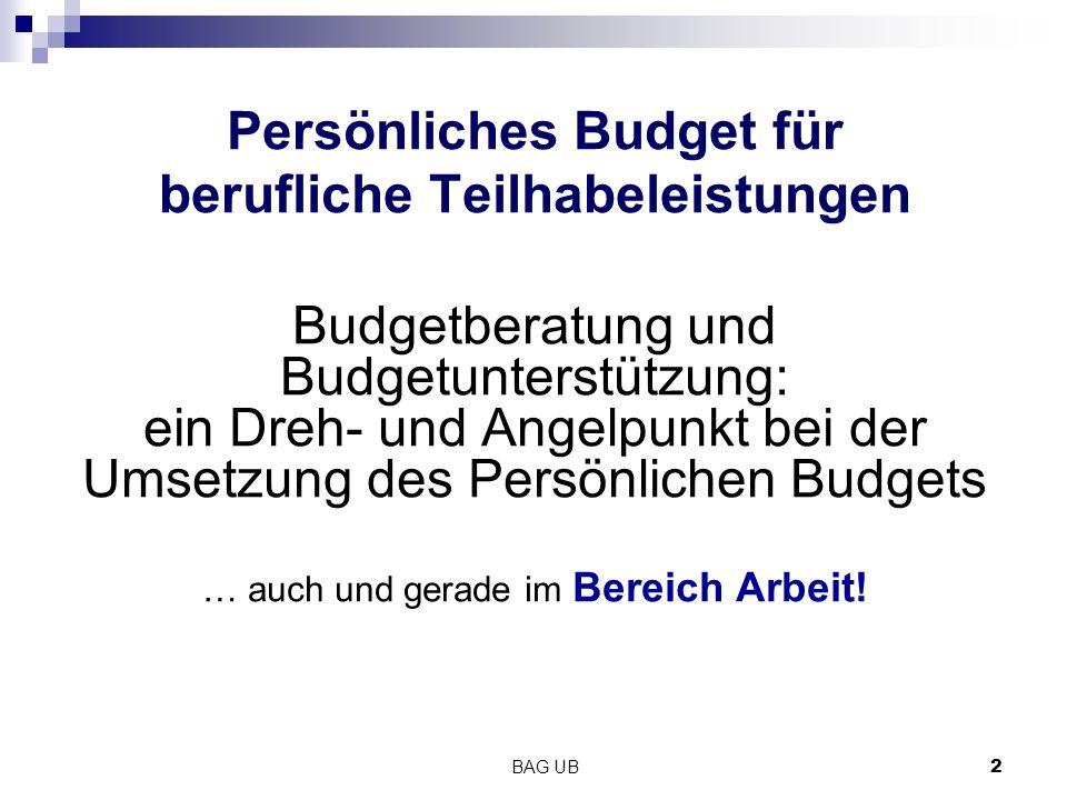 Persönliches Budget für berufliche Teilhabeleistungen