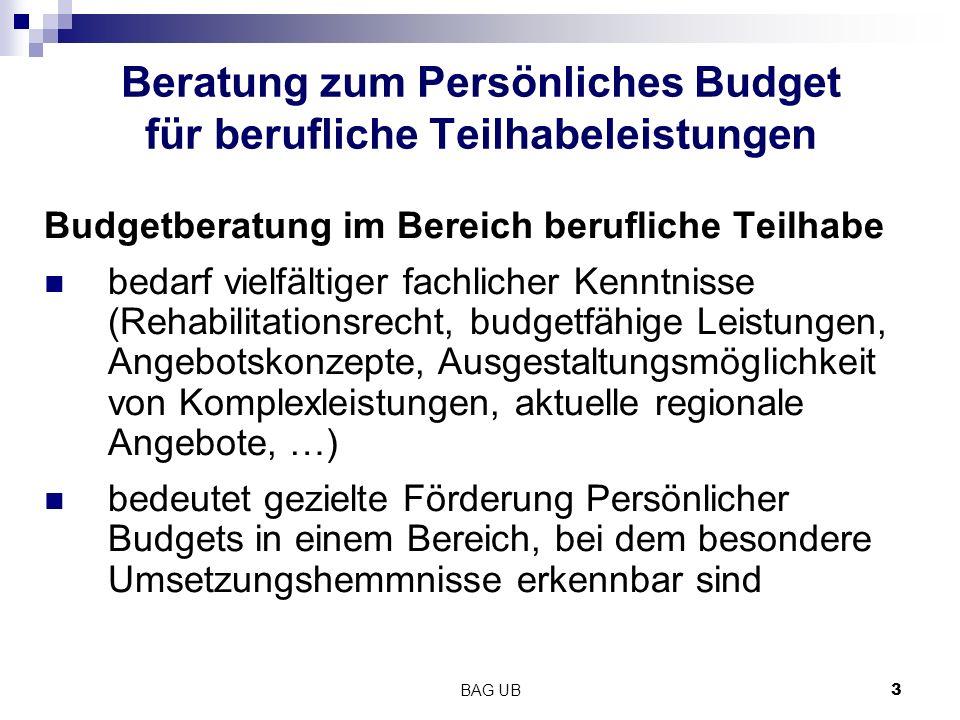 Beratung zum Persönliches Budget für berufliche Teilhabeleistungen