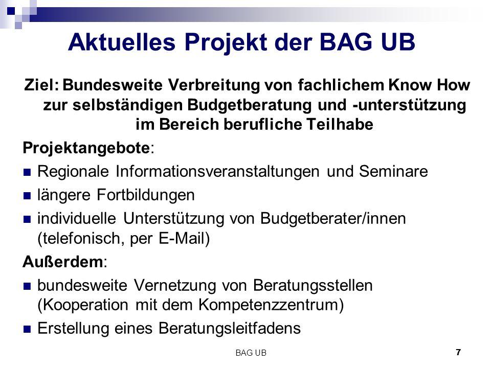 Aktuelles Projekt der BAG UB