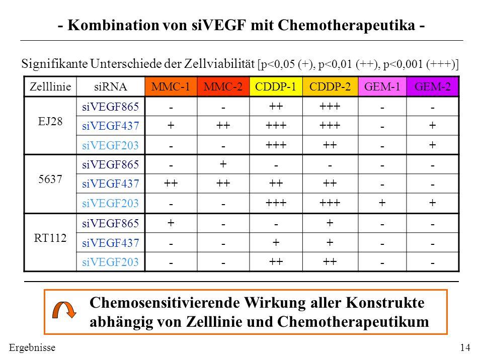 - Kombination von siVEGF mit Chemotherapeutika -