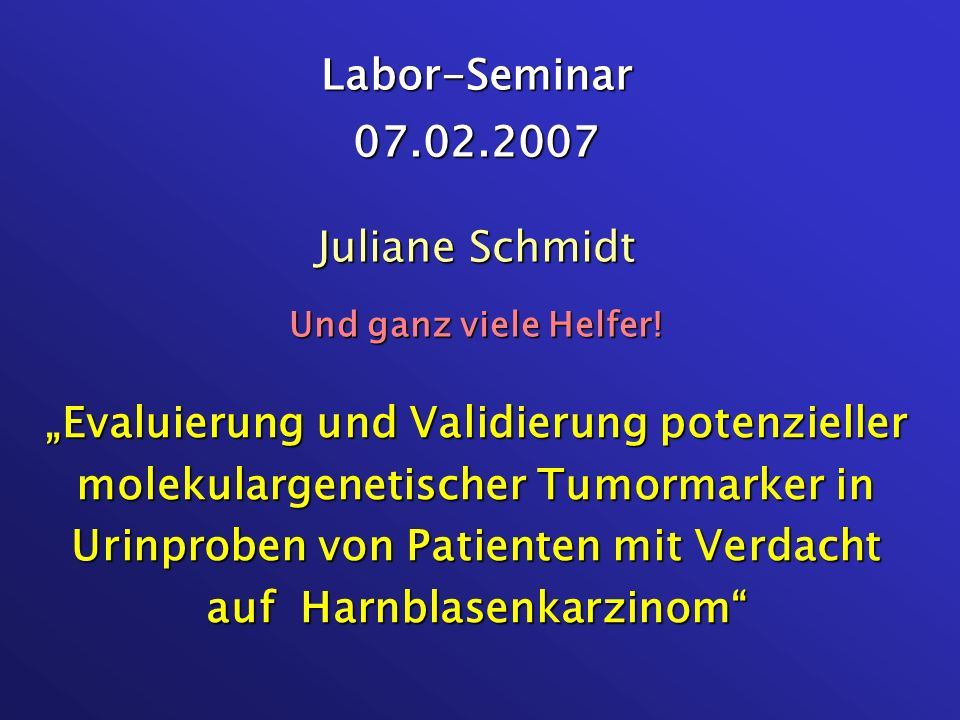 Labor-Seminar 07.02.2007 Juliane Schmidt Und ganz viele Helfer!
