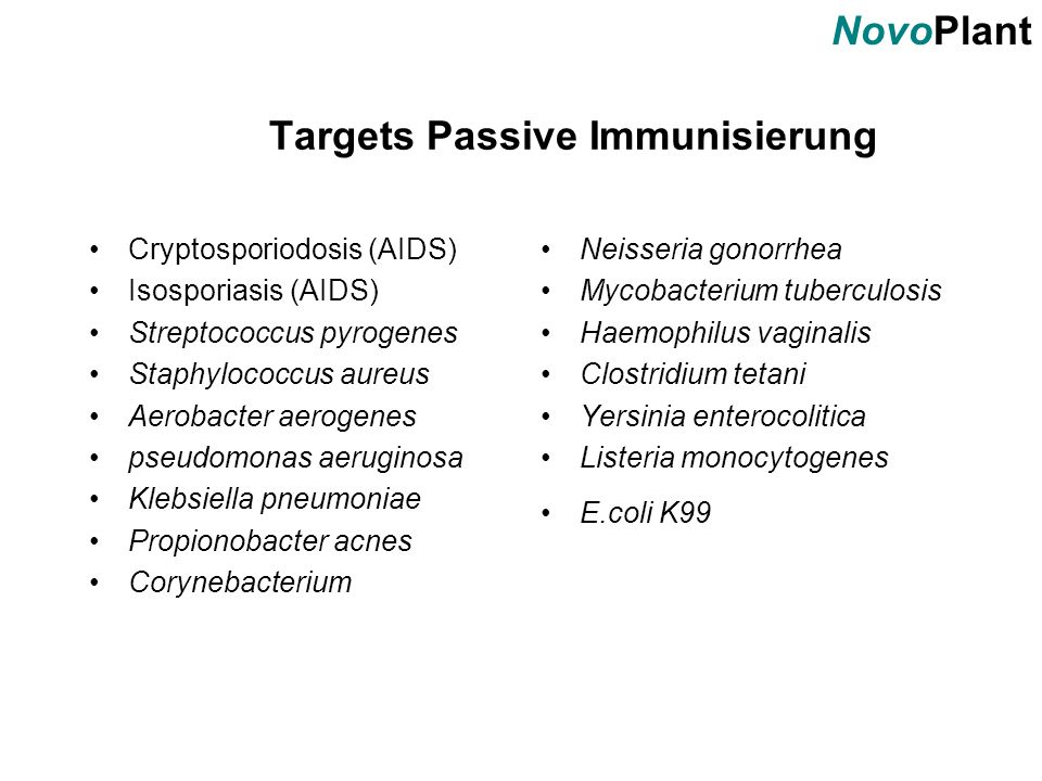 Targets Passive Immunisierung